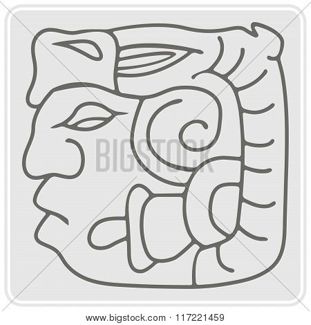 monochrome icon with American Indians relics dingbats characters