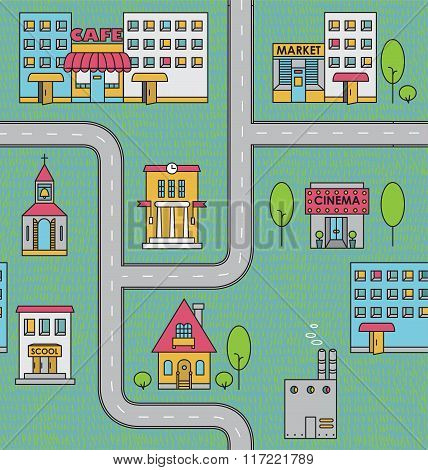Seamless Pattern With Houses,roads And Trees