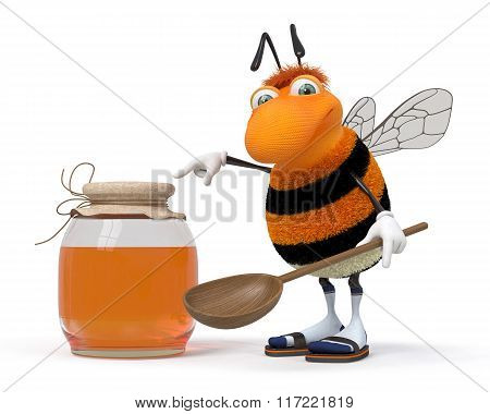 3D Bumblebee With A Honey Can