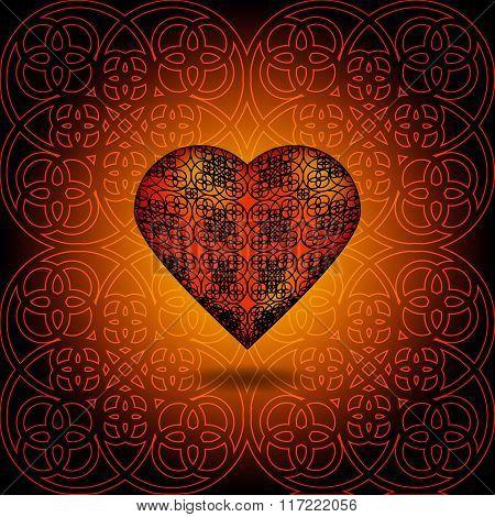 Volume Heart. Pattern On Surface. Orange And Black