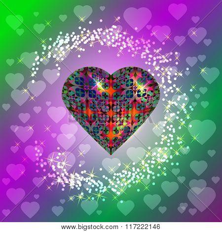 Volume Heart. Bright Pattern. Surrounds Lights