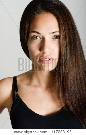 Beautiful Young Woman Without Make-up On White Background