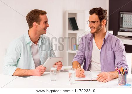 Attractive Businessmen Co-working