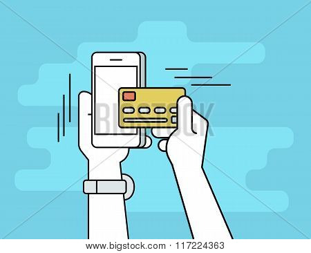 Mobile banking flat line contour illustration of human hand paying by credit