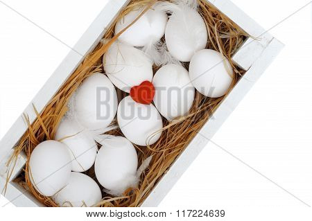 Eggs In The Box. Isolated On White Background.