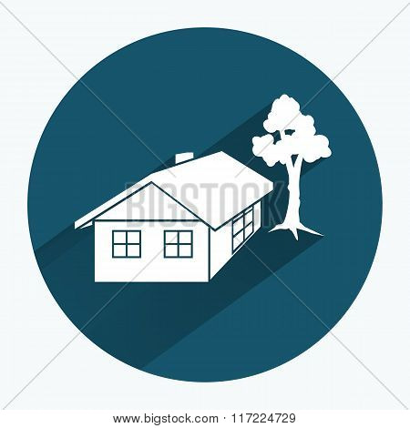 House icon. Building household comfort real estate complete symbol. Construction, tree. Round sign w