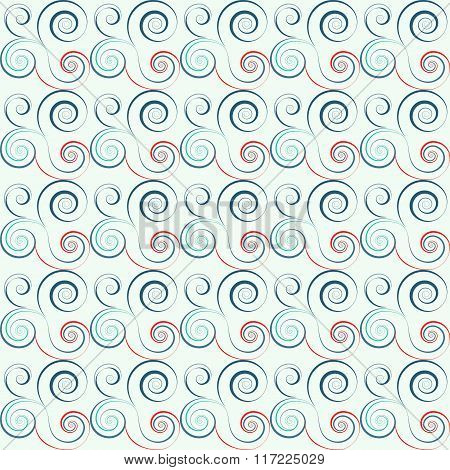 Seamless floral spiral pattern. Twirl lines. Twist abstract ornament on light background. Red, blue,