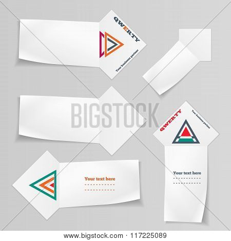 Paper banners, triangular logo icons set. Labels with shadow for your text. Arrow view note ribbon.