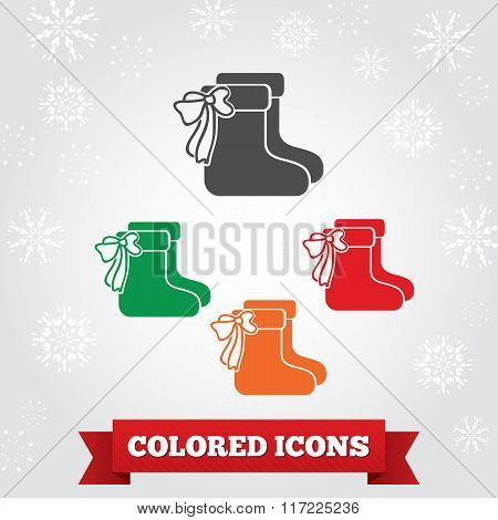 Christmas icons set. Socks with bow silhouettes, snowflakes, red ribbon. Holiday, winter symbol. Gra