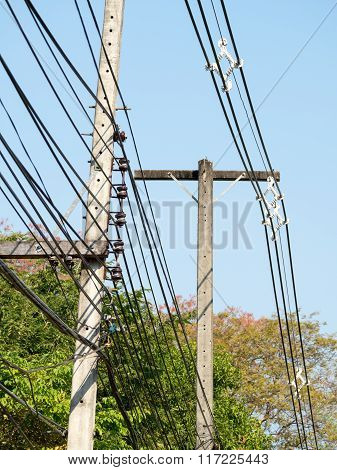 Power Lines On Electric Pole