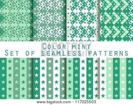 Stars. Set Seamless Patterns. Color Mint. The Pattern For Wallpaper, Bed Linen, Tiles, Fabrics, Back