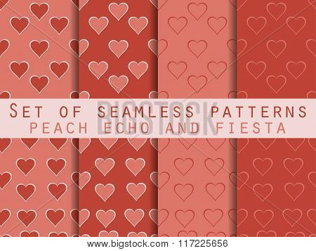 Set Of Seamless Patterns With Hearts. Valentine's Day. Peach Echo And Fiesta Color. Color Trend In 2