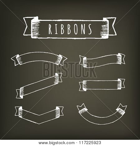 Black outline pencil ribbons