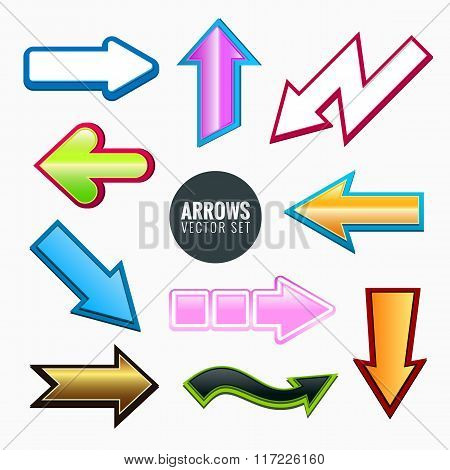 Arrows set, colorful different styles