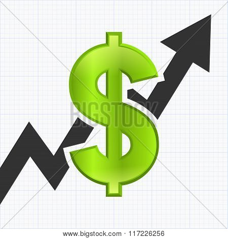 Dollar sign with graph chart,