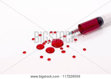 Blood In Syringe With A Drop Of Blood At The Tip