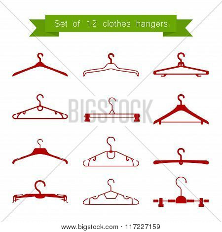 Set of 12 vector red clothes hangers
