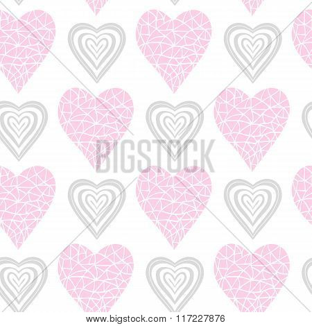 Pattern pink and gray heart