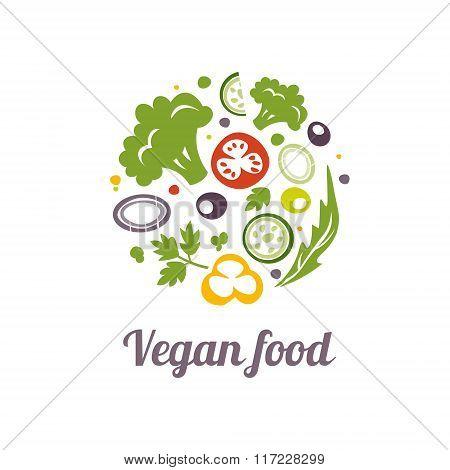 Vegan food icon. Logo design vector template.