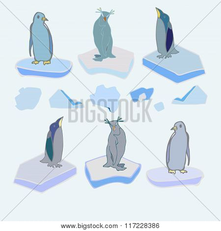 The penguins on ice floes. Vector. Christmas