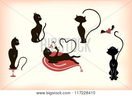 Abstract stylized cats in different poses. EPS10 vector illustration