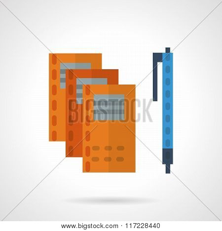 Office supplies flat color vector icon