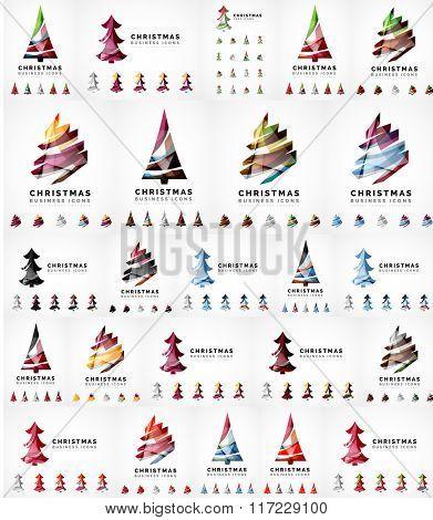Vector Christmas tree icon set. Geometric design