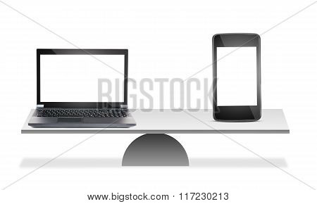 Laptop and smartphone on scales