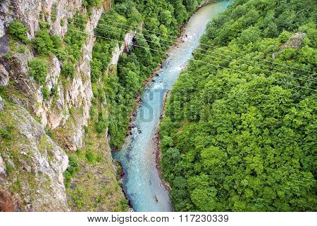 River In Montenegro, View From The Top