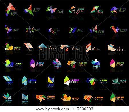 Grow up arrow origami abstract vector logo design template paper creative office icon business company symbol concept