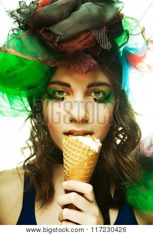 Doll with ice-cream. Creative make-up.