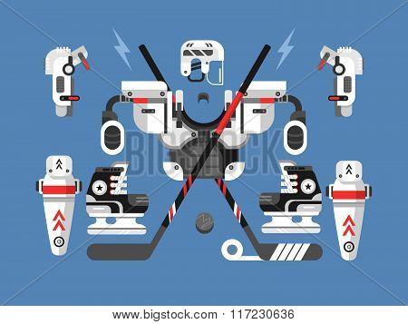 Hockey equipment set
