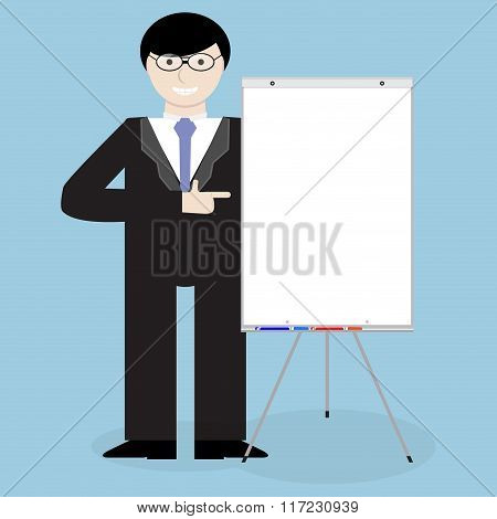 Business Man In Glass With Banner Presentation
