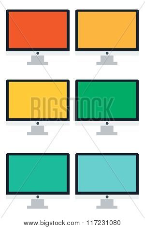 Illustration Of Six Monitors.
