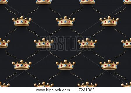 Seamless Gold Pattern With King Crown With Diamond On A Dark Black Background. Vector Illustration.