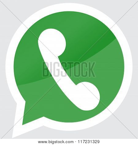 Handset Icon Sticker Design Flat Symbol Badge