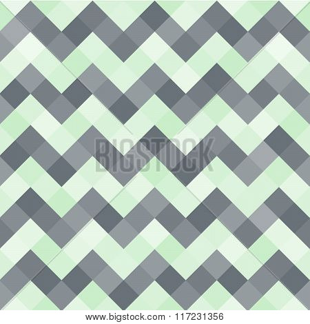 Seamless Abstract Pattern With Turquoise And Black Geometric Mosaic Zigzag. Vector Illustration.