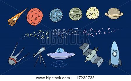 Colored doodle space set