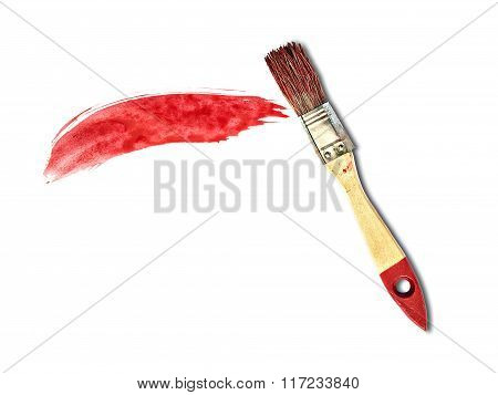 Dab Of Red Paint And A Brush On A White Background