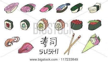 Colored sushi set