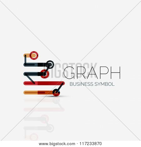 Abstract logo idea, linear chart or graph  business icon. Creative vector logotype design template
