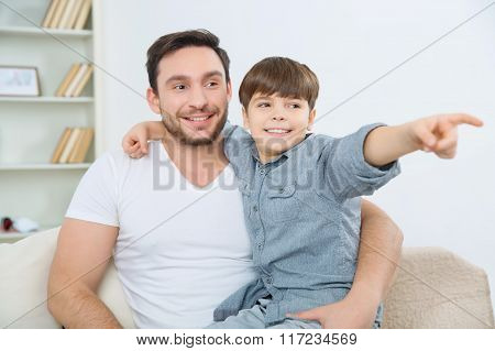 Father and son are having joyful day.