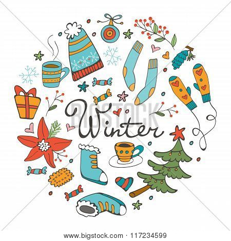 Colorful hand drawn winter collection in round composition. Illustration in vector format