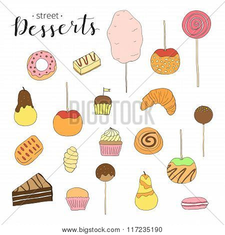 Collection of hand drawn desserts.