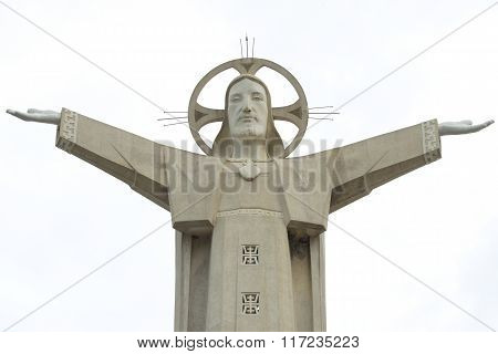 A fragment of a 30-meter sculpture of Jesus Christ. Vung Tau, Vietnam