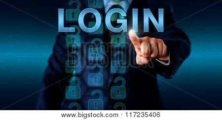 Corporate User Pushing Login Onscreen