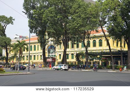 The view of the building of the main post office of Ho Chi Minh city. Vietnam