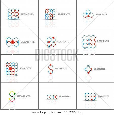 Set of linear abstract logos and swirl shapes. Company emblem, business icon