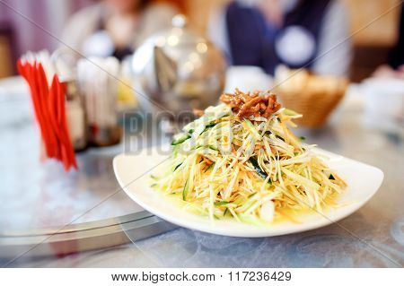 Chinese Dish, Homemade Salad At The Restaurant. Asian Cuisine Series.