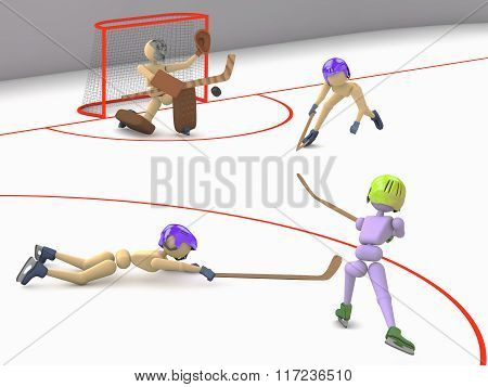 Goalkeeper Tries To Catch Puck